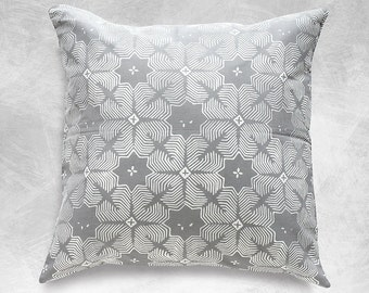 Gray Jasmine Batik Boho Pillow Cover Handmade in Indonesia