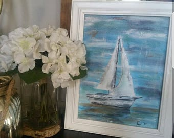 Sailboat painting,  8x10in acrylic on canvas