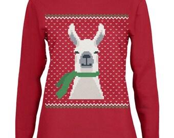 Ugly Christmas Sweater Big Llama Red Womens Long Sleeve T-Shirt