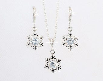 Handmade Cubic Zirconia CZ Snowflake Bridal Necklace & Earrings Set, Bridal, Winter Wedding (Sparkle-2674)