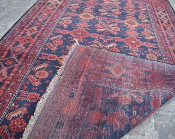 old Afghan Tribal worn Carpet