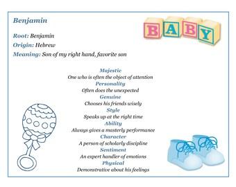 Baby name keepsake print