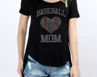 Baseball Mom Rhinestones Short Sleeve Scoop Neck Hi-Low Top