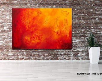 "40"" LARGE, Original ABSTRACT Textured PAINTING, canvas, Wall Art, Modern, Contemporary, Red, Yellow, Orange"