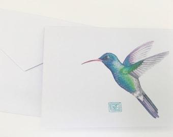 Watercolor hummingbird greeting cards, set of 8 cards and envelopes, watercolor greeting cards, printed original artwork,watercolor cards