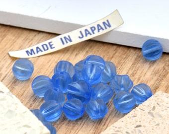 12 Blue Melon Vintage Beads.  7mm Vintage Japanese Fluted Blue Glass Beads.  Translucent Blue Vintage Glass Beads. Vintage Jewelry Supplies.