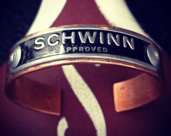 Vintage Schwinn Bicycle Seat Badge Copper Cuff BRACELET