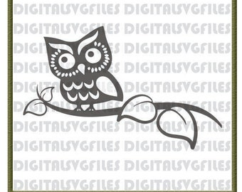 Owl SVG File, Owl on Branch SVG for Cutting Machine, Owl file svg dxf pdf Instant Download, Animals Owl Vector Art