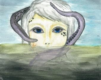 Sea Life, watercolor print, wall decor, art print, octopus, mermaid, sea creatures