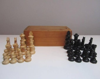 Vintage Wooden Chess Set Made in France