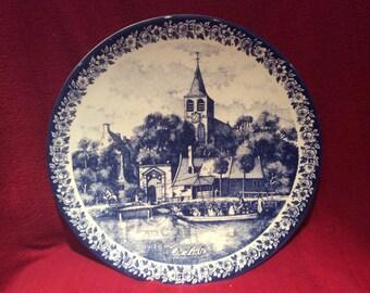 Delfts Blauw Chemkefa Church and Boat Scene Wall Plate appx 29cm diameter