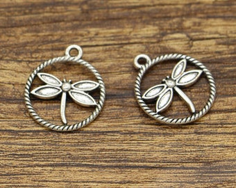 20pcs Dragonfly Charms Insect Charms Antique Silver Tone 20x23mm CF2972