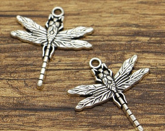 12pcsLarge Dragonfly Charms Insect Charms Antique Silver Tone 28x32mm cf2008