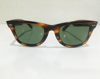 vintage ray ban wayfarer  vintage b&l ray ban wayfarer mock tortoise l2052 50mm sunglasses usa.