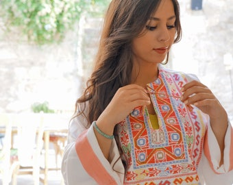 Lydda Orange hand embroidered Jillayeh, front slit thoub