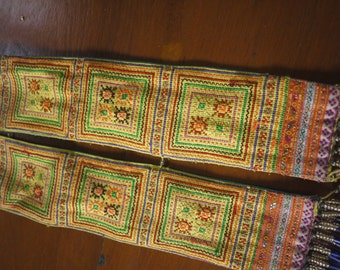 Antique vintage Hmong textile - asian tribal textile hilltribe design - tribe embroidery