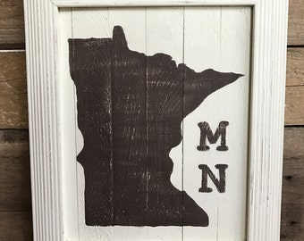 Rustic MN Sign.  Framed Hand Painted Minnesota Sign. Brown MN Silhouette on Cream Painted Background.