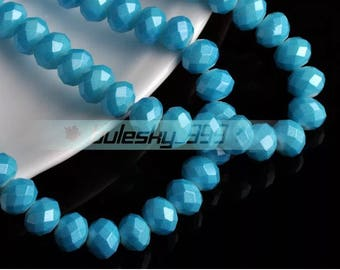 8 mm Crystal  Rondelle bead  36 pcs Blue color