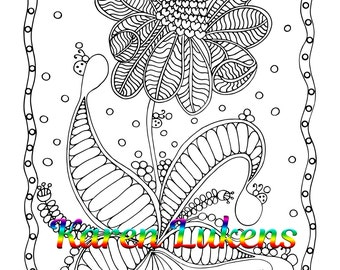 Giddy, 1 Adult Coloring Book Page, Printable Instant Download