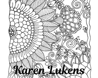 Garden Friends, 1 Adult Coloring Book Page, Printable Instant Download, flowers