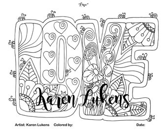 """Valentine's- """"Love"""", 1 Adult Coloring Book Page, Printable Instant Download"""
