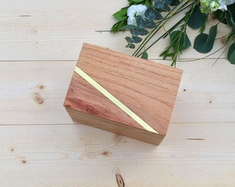 Wood Tea Box with Brass Inlay