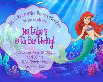 DIGITAL Ariel Little Mermaid Birthday Invitation