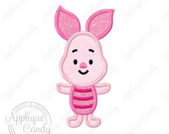 Pig Cutie Applique Machine Embroidery Design Digital File 4x4 5x5 6x6 5x7 8x8 9x9 6x10 Pooh Bear piglet INSTANT DOWNLOAD