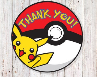 """Pokémon - 2"""" Round Thank You Labels  (INSTANT DOWNLOAD)"""