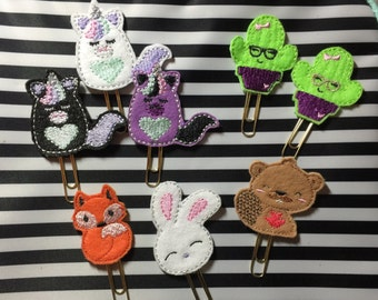YouTube friends special Planner paper clip Unicorn beaver Fox bunny cactus
