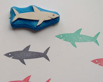 Shark stamp, Shark hand carved rubber stamp, sea life, marine life, scrapbooking, craft, angry shark, scary shark, birthday