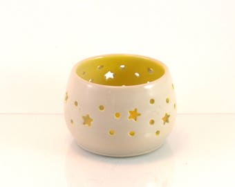 Ceramic tealight holder // Wheel thrown pottery candle holder//Gift for Mom //Ceramic luminary//Pottery Lantern