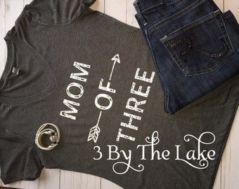 Mom of Three, Women's (Distressed) V neck T shirt in Multiple colors