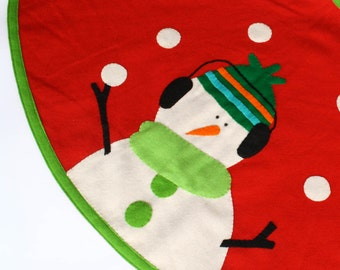 Dapper Snowmen Wool Felt Tree skirt