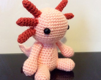 Cute Amigurumi Crochet Axolotl in peach/pink