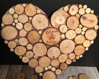 Reclaimed Wood Slice Heart Wall Art