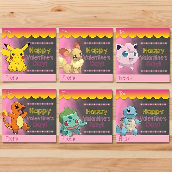 Pokemon Valentine's Day Cards - Pink Chalkboard - Girl Pokemon Pikachu Valentines - Girl Pokemon Party - School Valentine's Day Cards