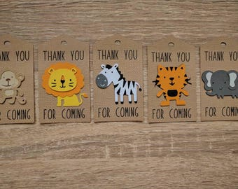 Jungle/zoo theme party, 12-piece thanks tags, birthday party, favour tag, thank you tag