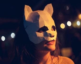 Cat Masquerade carnival Mask, Papercraft Template, Festival Mask, DIY Digital Download