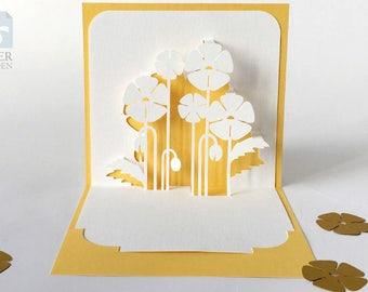 """Papercut Template Pop-up Card """"Poppies"""", Instant Download, Cut&Glue Own 3d Pop-up Card 90 deg"""