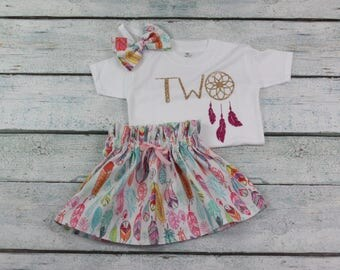 two/2nd birthday outfit/cakesmash outfit/ dreamcatcher birthday/2 year old birthday dress/ feather skirt