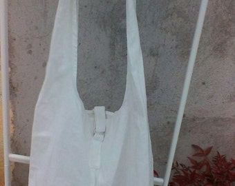 White cotton canvas  hobo bag