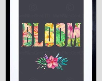 "Bloom Floral Print - Flowers Typography Gardening Framed 12X16"" Art Quote  F12X10770"