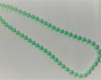 Mint green beaded necklace with silver clasp