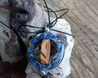Pendant of maple burl and olive wood