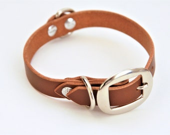 Small Dog Collar Genuine Leather (DarkBrown) 15''