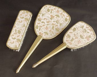 French vintage Hand Held Vanity Mirror & Brush Set, 1960's Vanity Dresser Set, Chic Boudoir set of 3 Never Used