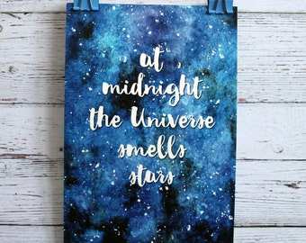 Stars postcard, universe print, cosmos poster, space print, stars illustration, stars drawing, watercolor sky, galaxy, drawing, art, poster