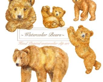 Bear Clipart, Animal clipart, Watercolor Woodland Clipart,Brown bears, Baby bears, Watercolor Bears, Forest animal, Love family, Nursery Art