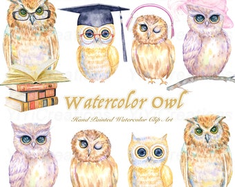 Watercolor Owl Family Clipart, Owl Graduation, Baby Owls, Owl Illustration invitation, Birds With Books, glasses, Nursery Art, Owl Png